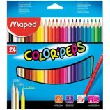 "Карандаши Maped ""Color Peps"", 24цв., трехгран., заточен., картон, европодвес"